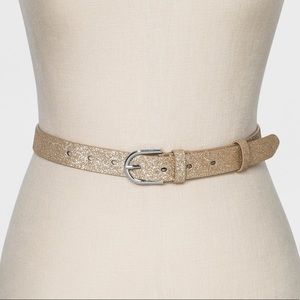 NWT Target a new day Gold Glitter 2 Loops Belt